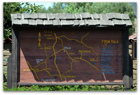 Wooden map sign at Mission San Antonio de Pala