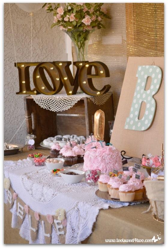 1st birthday party dessert table