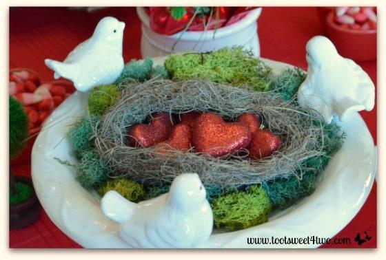 Bird's nest with heart-shaped eggs