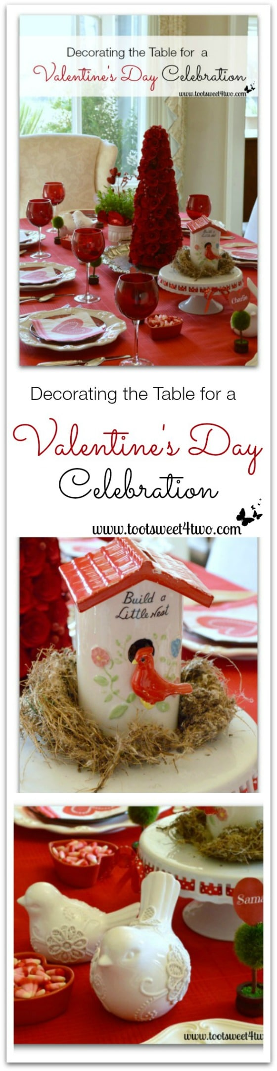Decorating the Table for a Valentine's Day Celebration collage