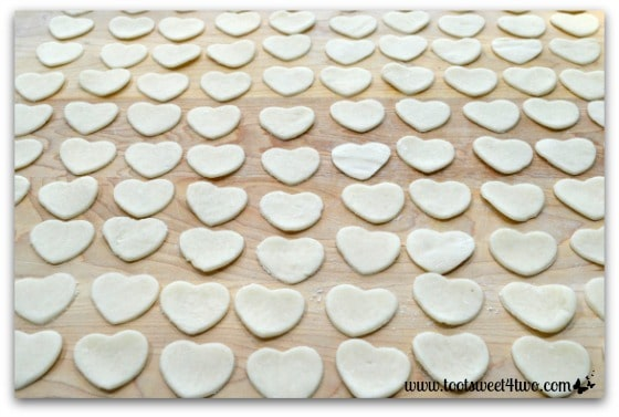 Pie crust hearts cut out in a row