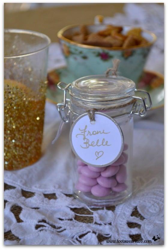 Pink M&Ms in mini Mason jars