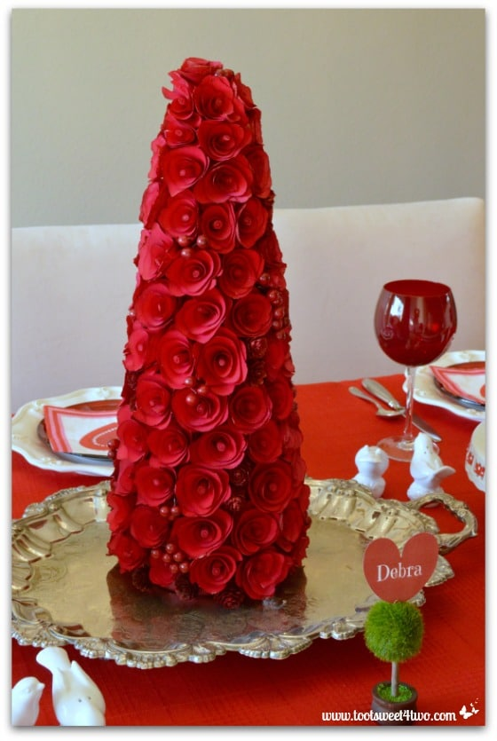 Decorating the Table for a Valentines Day Celebration  : Red rose covered tree centerpiece for Valentines Day table from www.tootsweet4two.com size 560 x 835 jpeg 167kB
