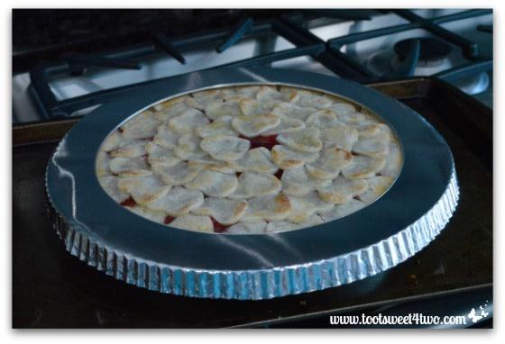 Sweetheart Strawberry Pie with pie shield