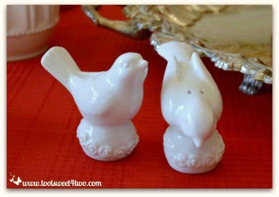 White ceramic birds salt and pepper shakers