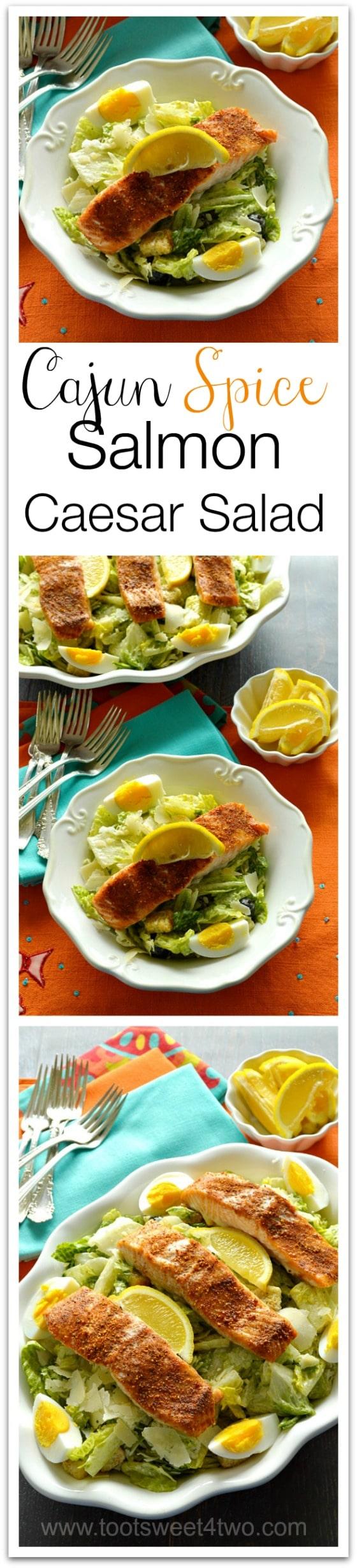 Cajun Spice Salmon Caesar Salad Collage