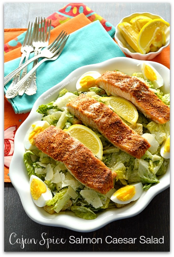 Cajun Spice Salmon Caesar Salad in serving bowl