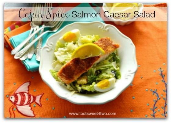 Cajun Spice Salmon Caesar on fish placemat