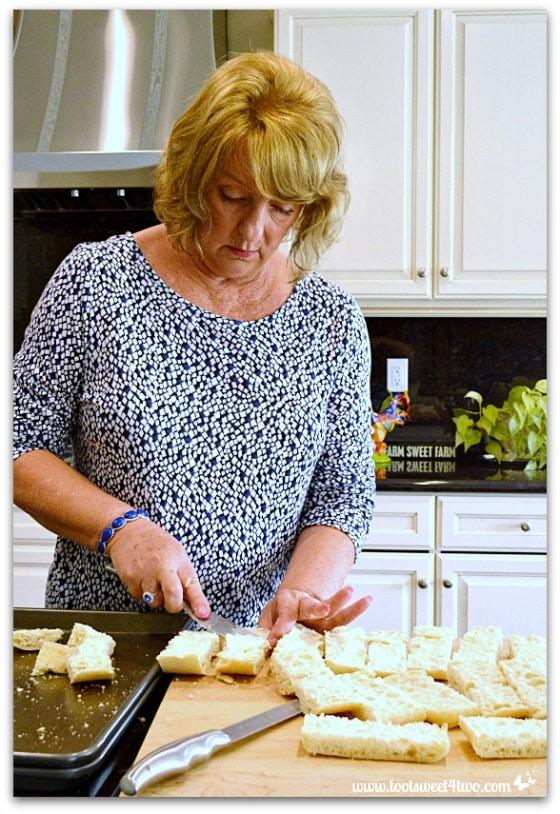 Mickey making Garlic Parmesan Cheese Bread
