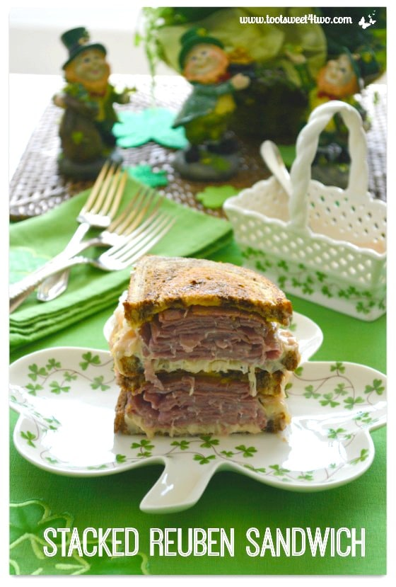 Stacked Reuben Sandwich - Easy Shamrock Wreath