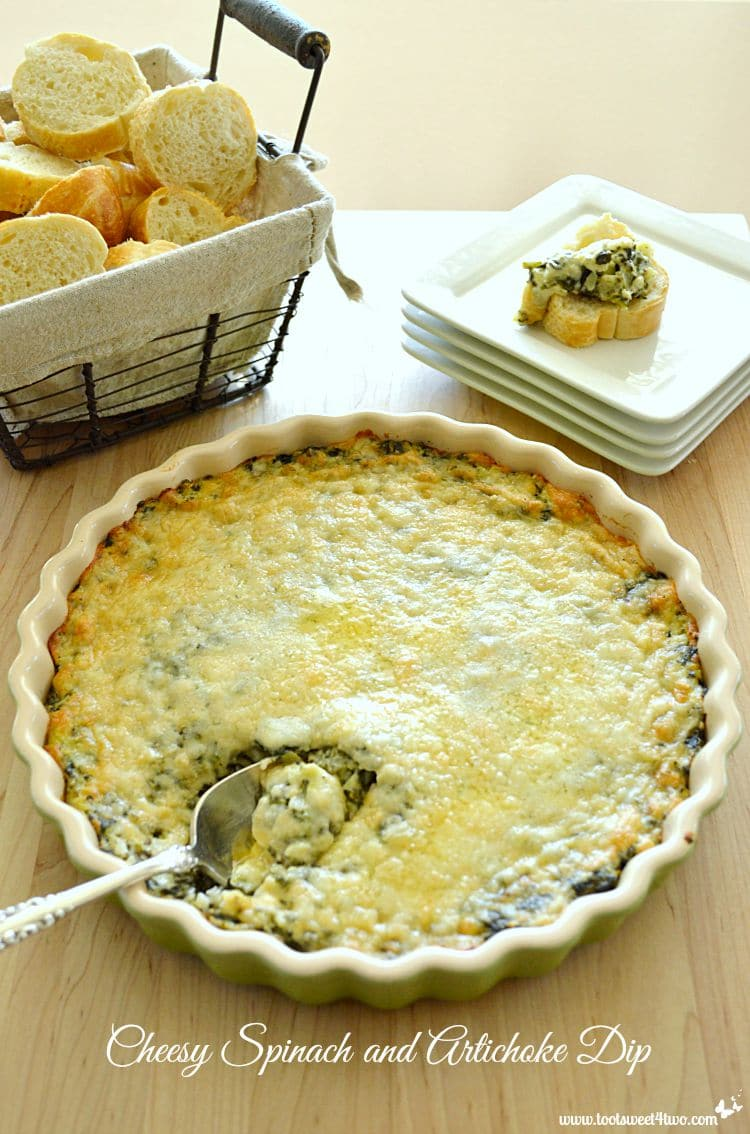 Cheesy Spinach and Artichoke Dip in baking dish