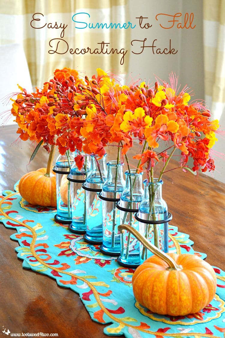 Easy Summer to Fall Decorating Hack orange flowers and pumpkins with turquoise accents