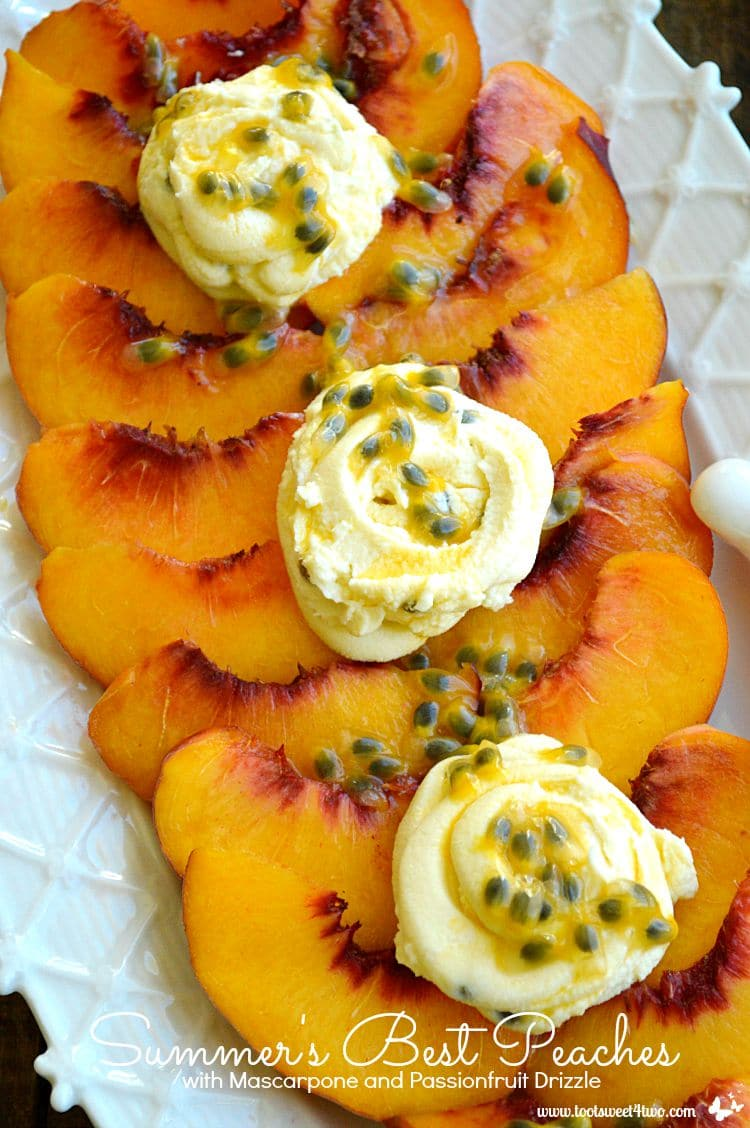 Summer's Best Peaches with Mascarpone and Passionfruit Drizzle vertical close-up