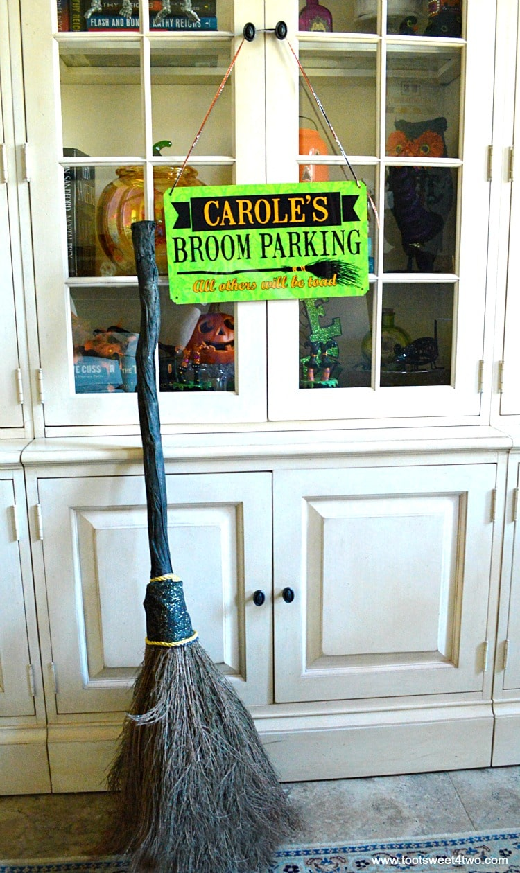 Broom Parking sign with witch's broom