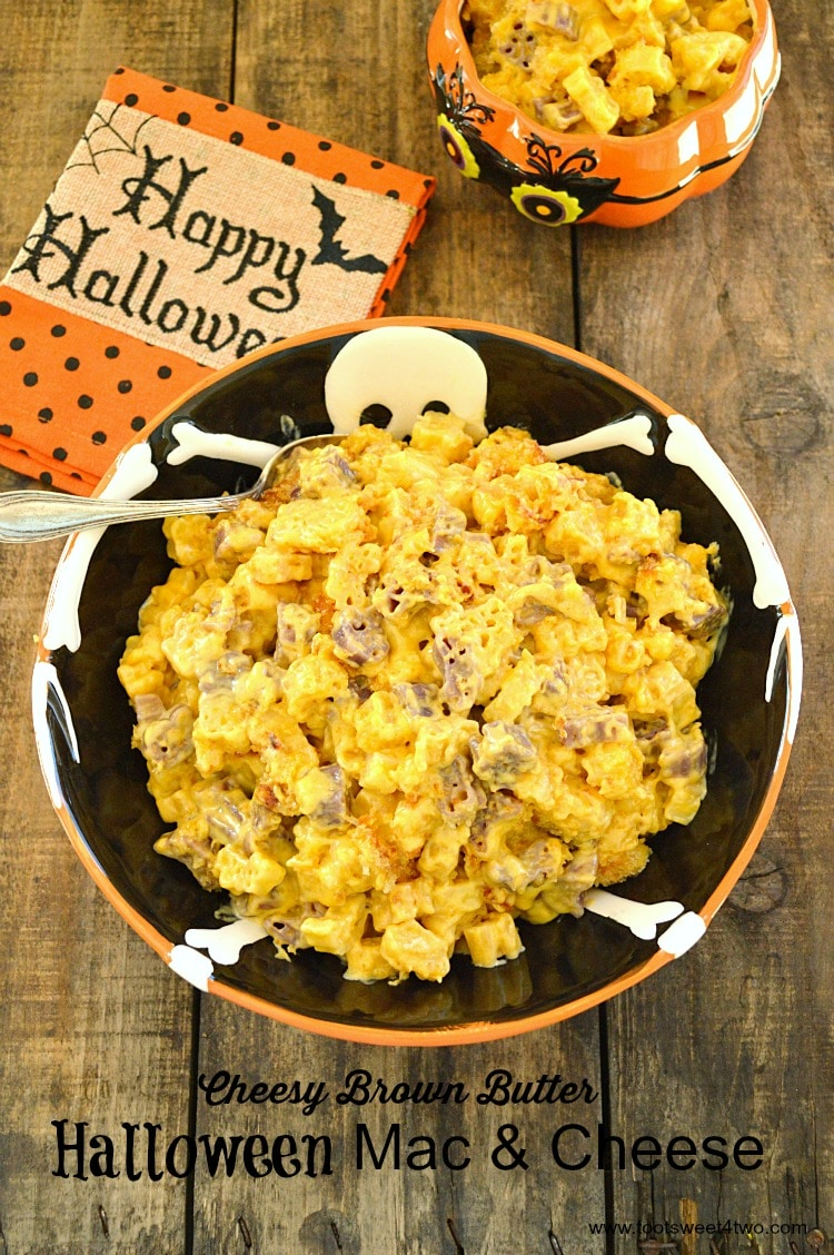 Cheesy Brown Butter Mac & Cheese in Skeleton serving bowl