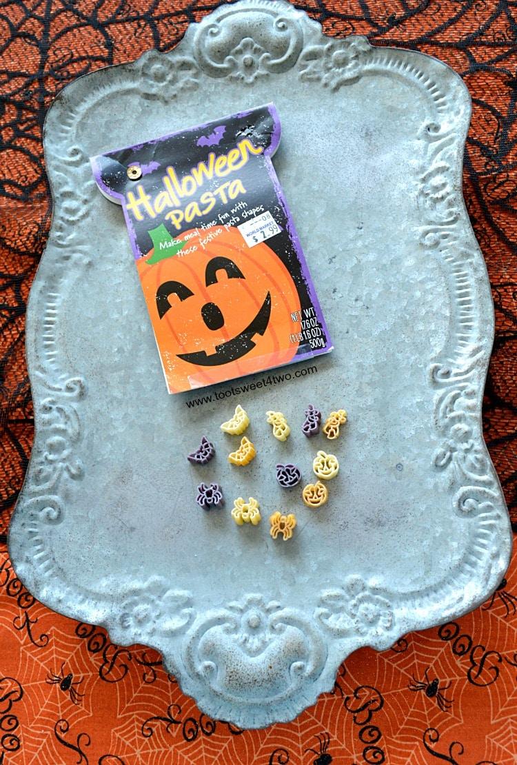 Halloween Pasta on tin tray
