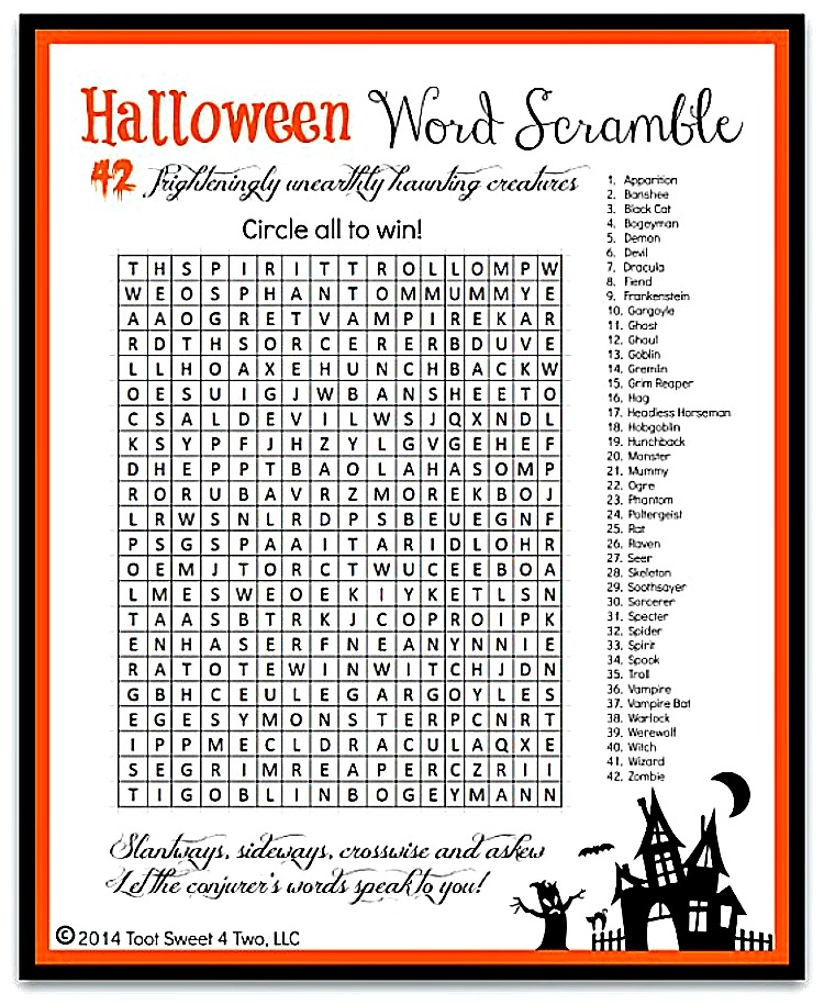 Halloween Word Scramble photo 750x915