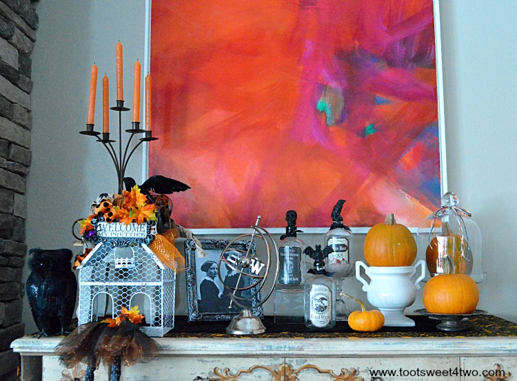 Halloween decorations on living room cabinet