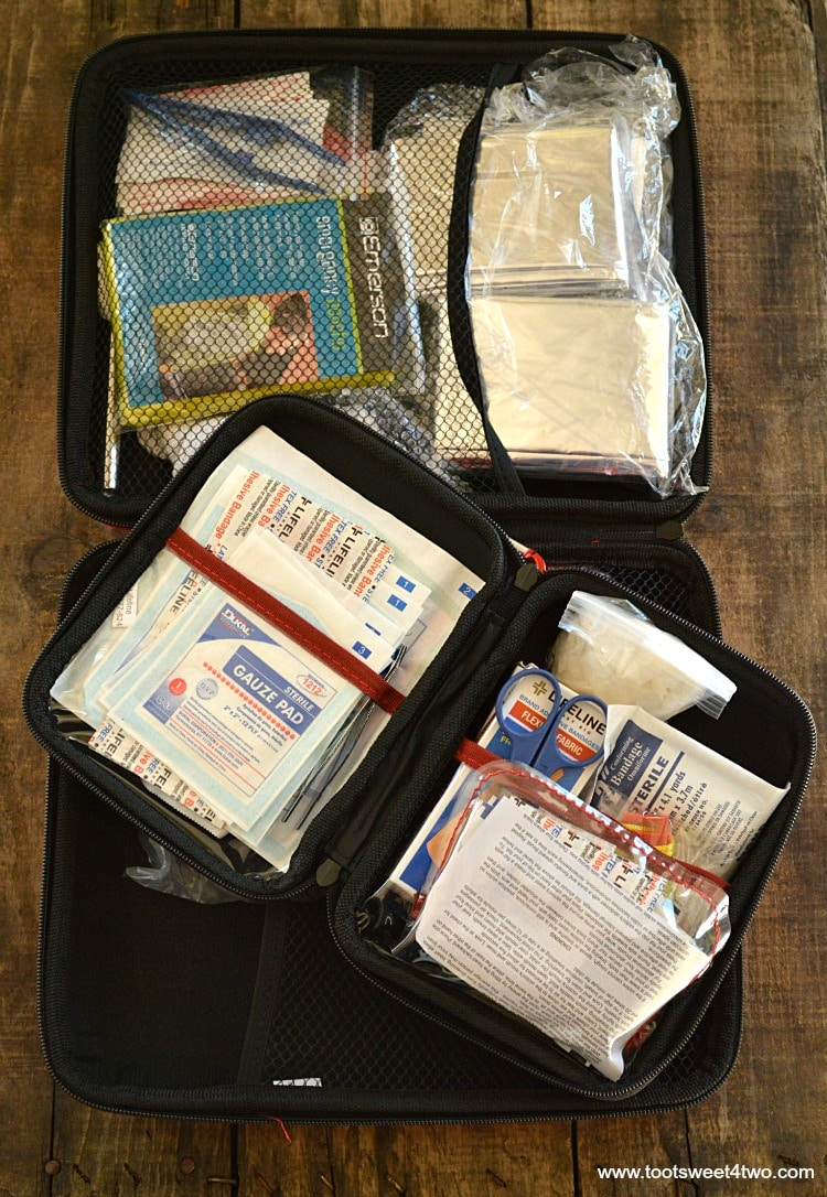 Inside contents of Vehicle Emergency First Aid Kit