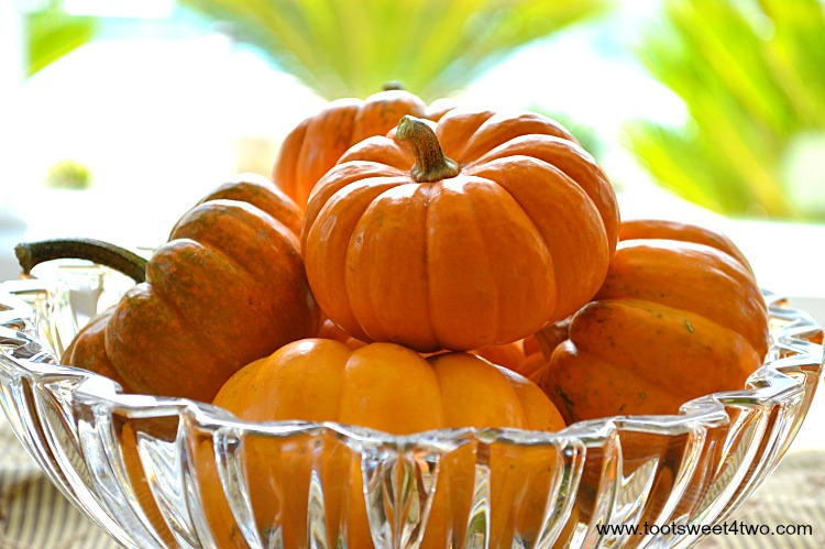 Jack-Be-Little Pumpkins in a crystal bowl
