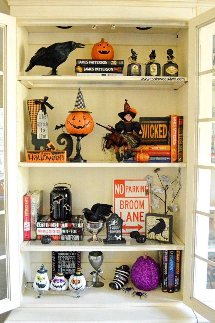 Office cabinet decorated for Halloween