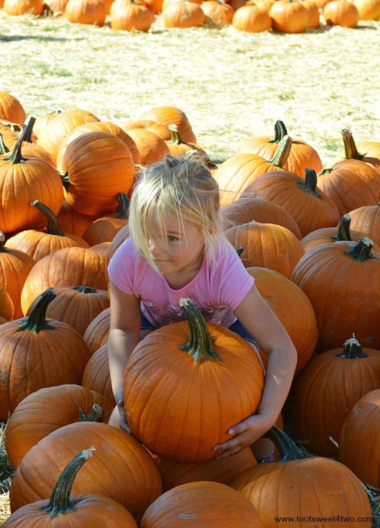 Princess Sweetie Pie lifting a pumpkin