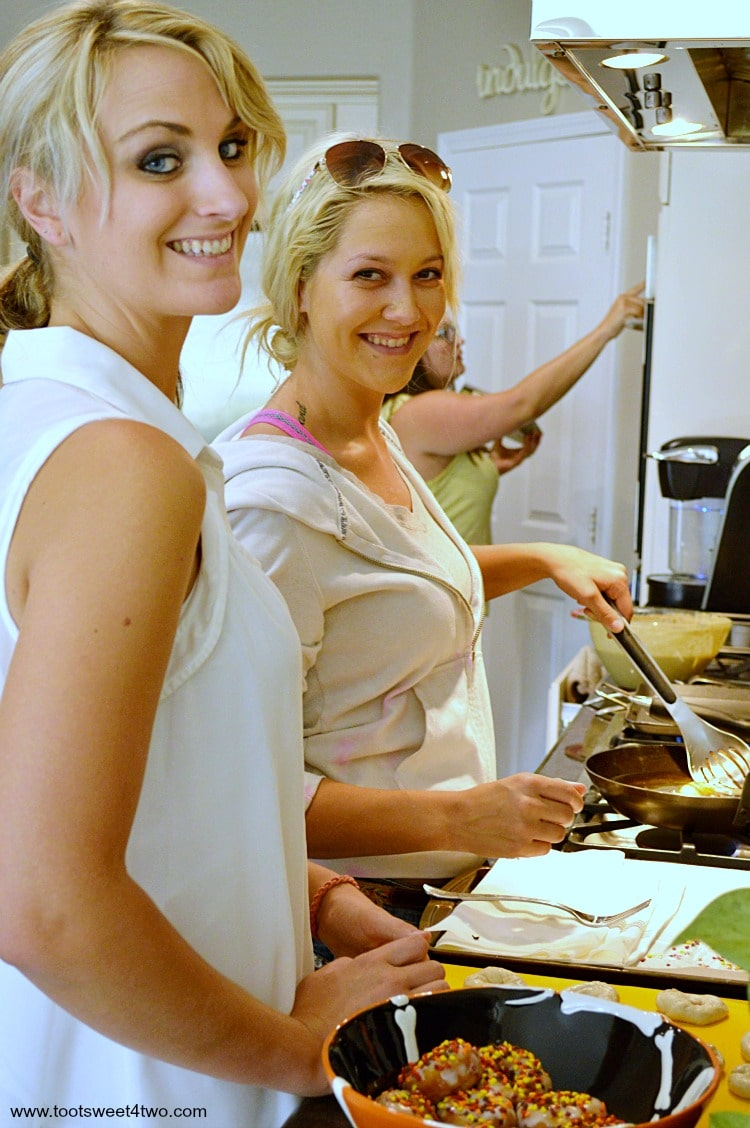Samantha, Ali and Tiffany cooking in my kitchen