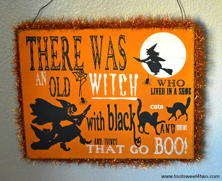 There was an old witch Halloween sign