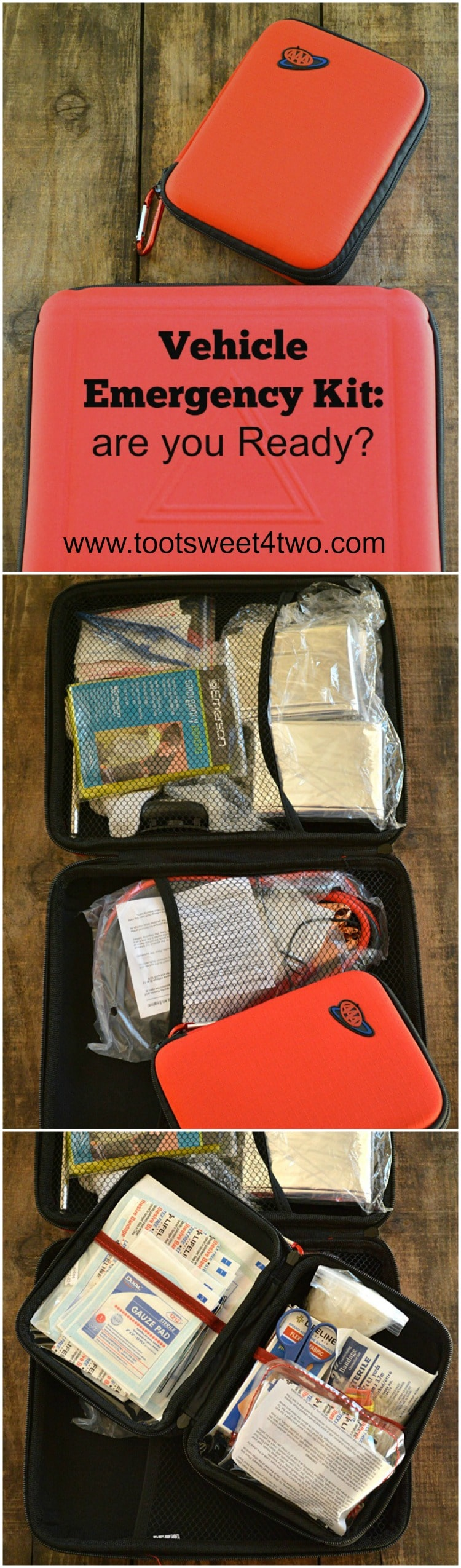 Vehicle Emergency Kit are you Ready Pinterest collage