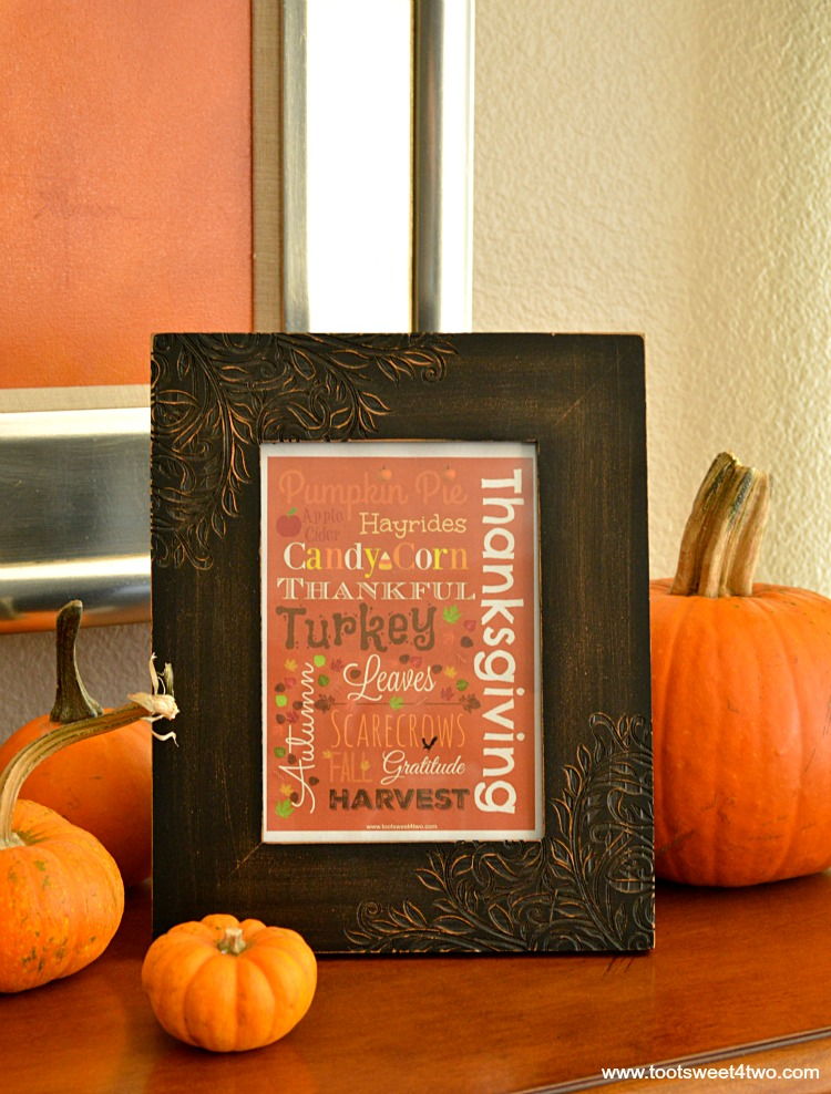 Framed Autumn printable with real pumpkins vertical