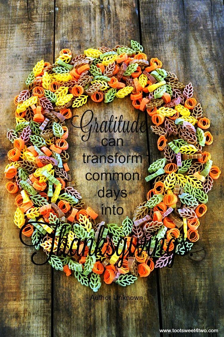 Gratitude quote made of pasta wreath