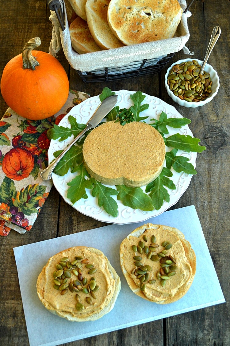 Harvest Pumpkin Cream Cheese Spread with Toasted Bagels and Pepitas