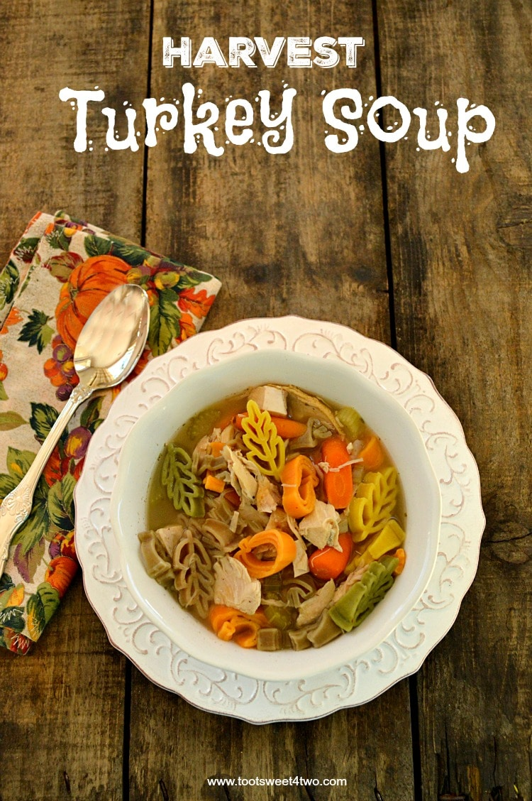 Harvest Turkey Soup - a delicious and colorful way to enjoy leftover turkey