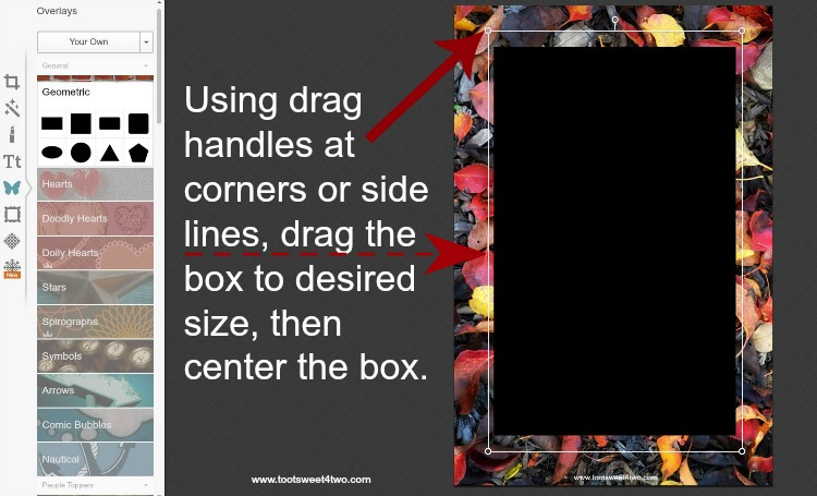 How to enlarge rectangle box in PicMonkey instructions - 2
