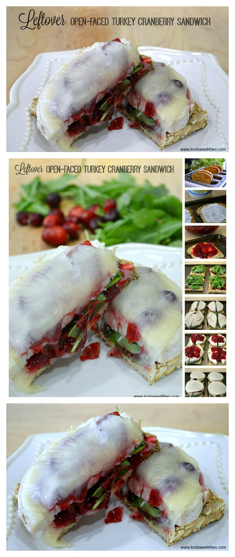 Leftover Open-faced Turkey Cranberry Sandwich - another delicious turkey leftover idea!
