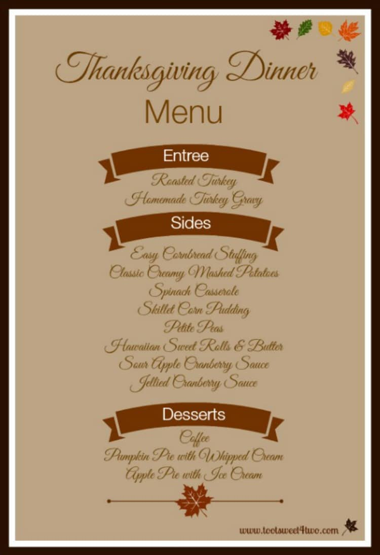 Sample Thanksgiving Dinner Menu