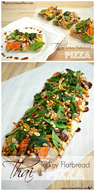 Thai Turkey Flatbread Pizza - fresh crunch veggies and a Thai peanut sauce