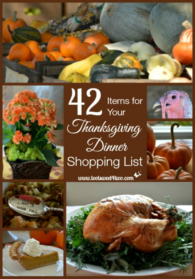Thanksgiving Dinner Shopping List