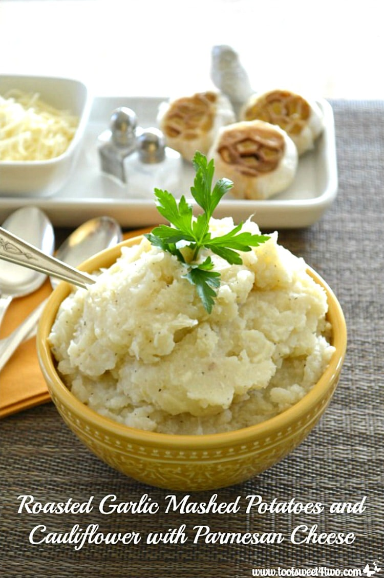 Thanksgiving Side Dish - Roasted Garlic Mashed Potatoes and Cauliflower