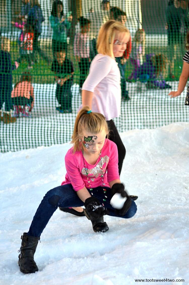 Princess P making a snowball - pic 1