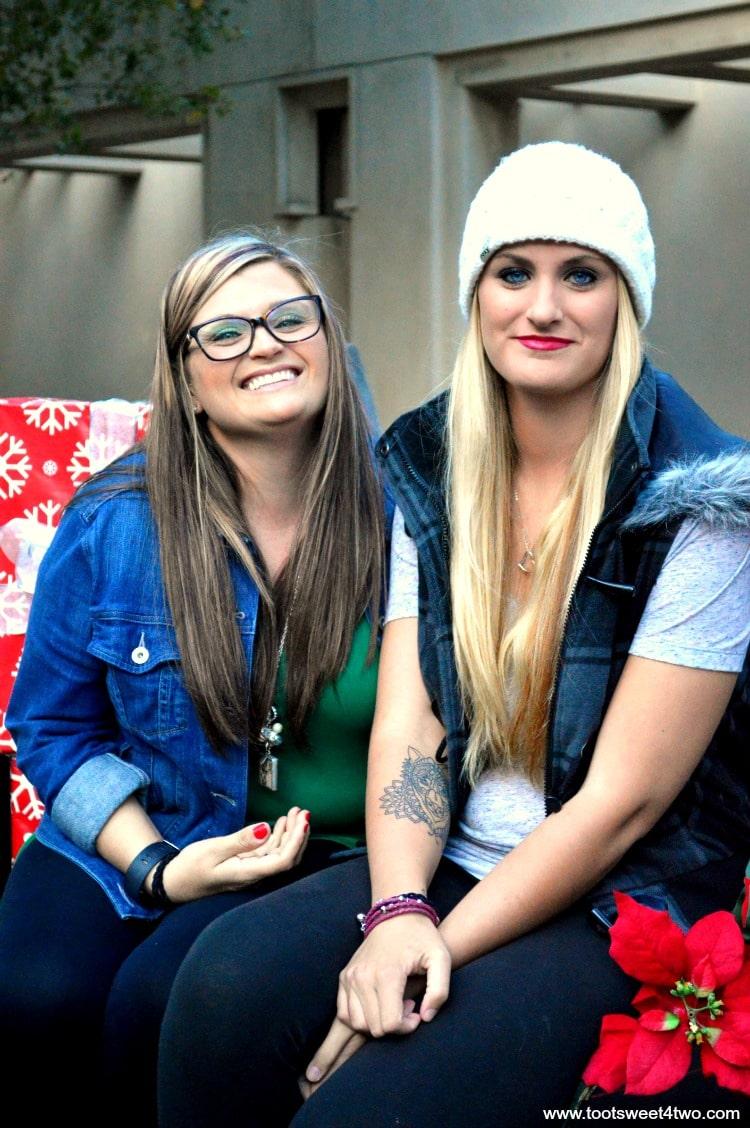 Tiffany and Samantha on Christmas Sleigh