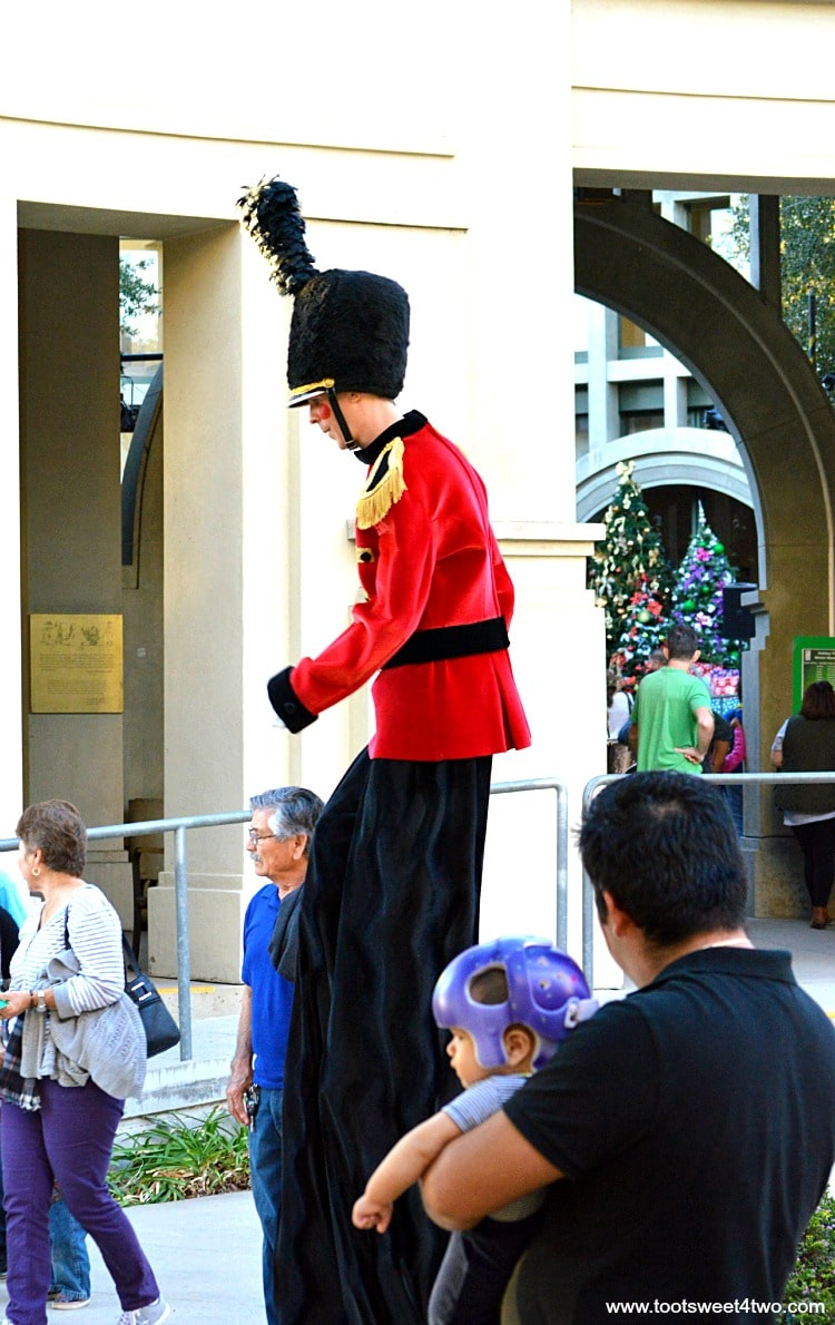 Toy Soldier stilt-walker at Center for the Arts, Escondido, CA