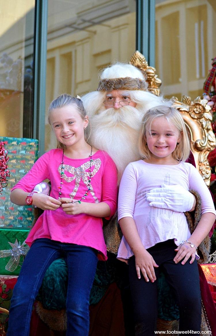 Princess P and Princess Sweetie Pie visit with Santa