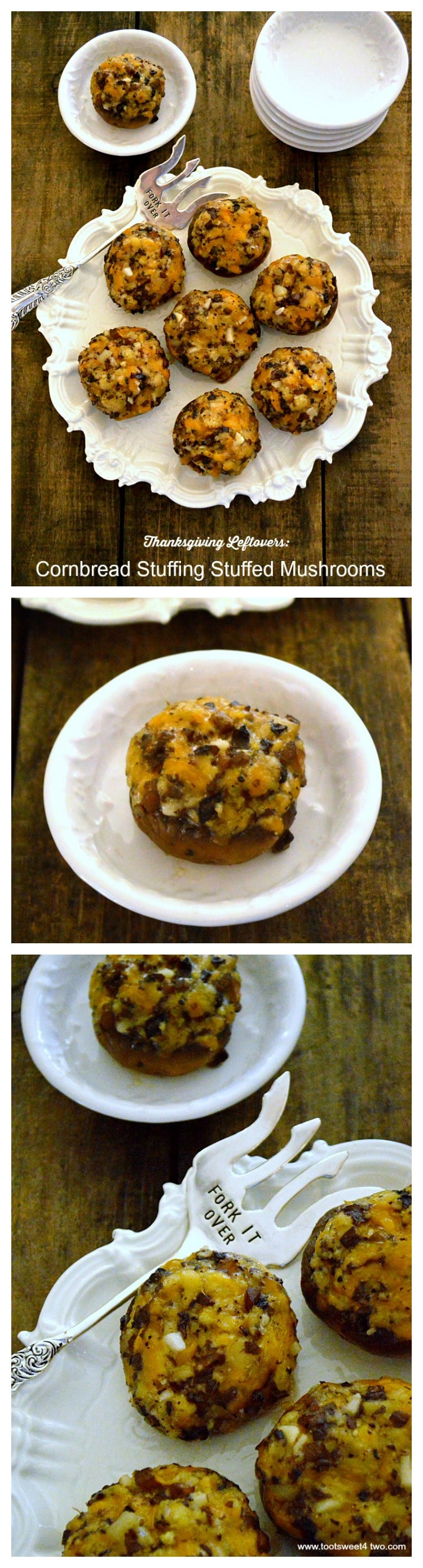 Cornbread Stuffing Stuffed Mushrooms collage