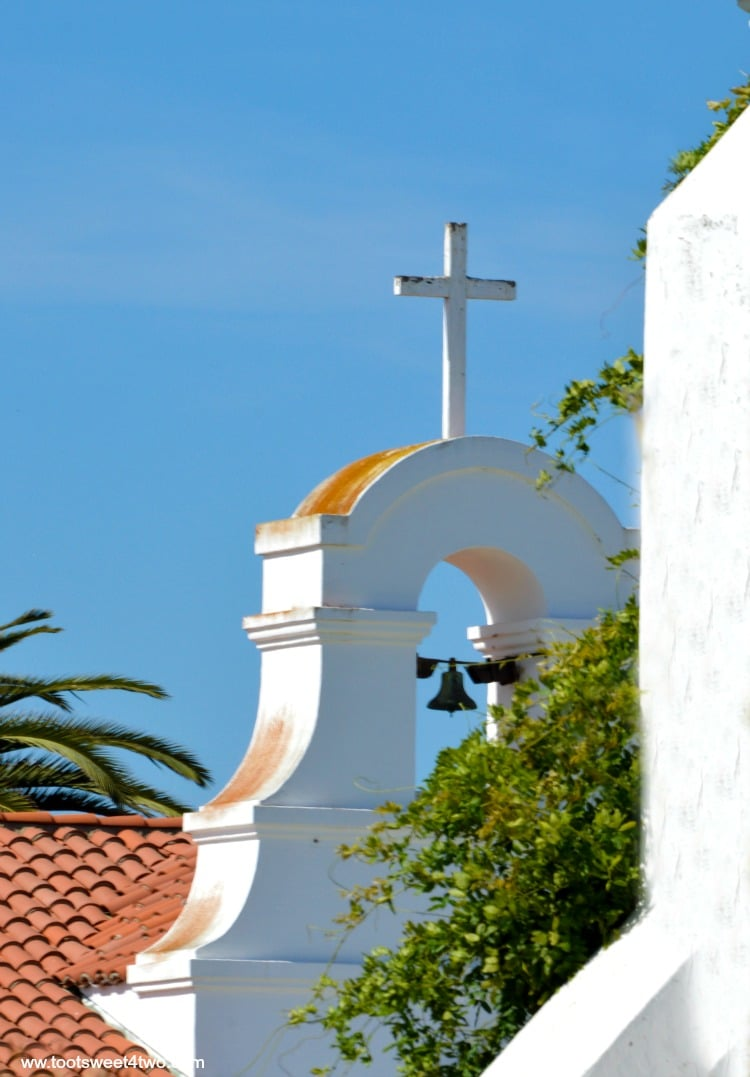 Cross above bell tower at Mission San Luis Rey