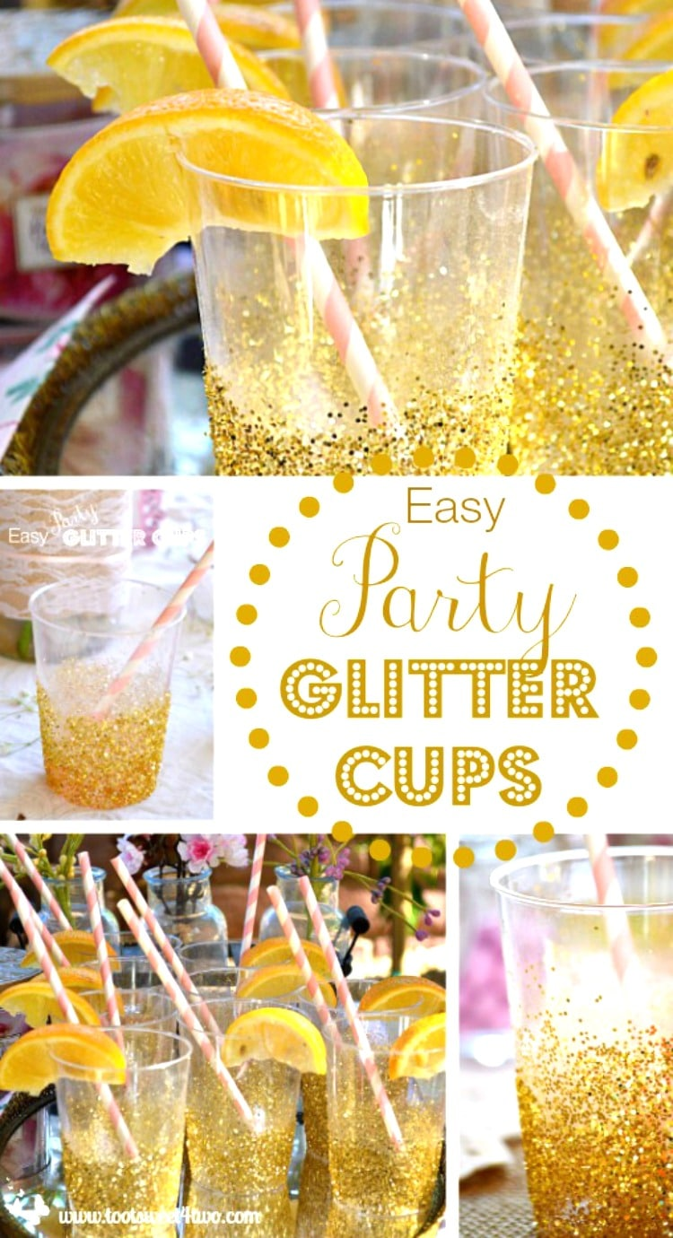 Easy Party Glitter Cups - a fun way to add glamour to any party!