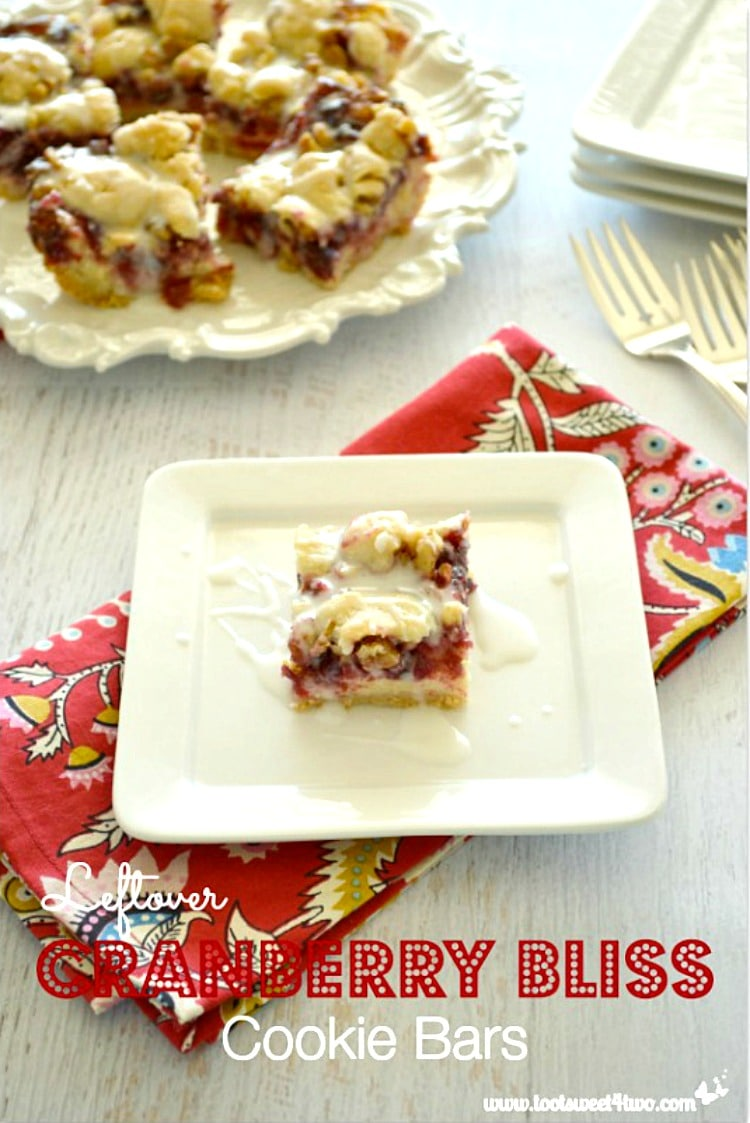 Leftover Cranberry Bliss Cookie Bars made with leftover cranberry sauce