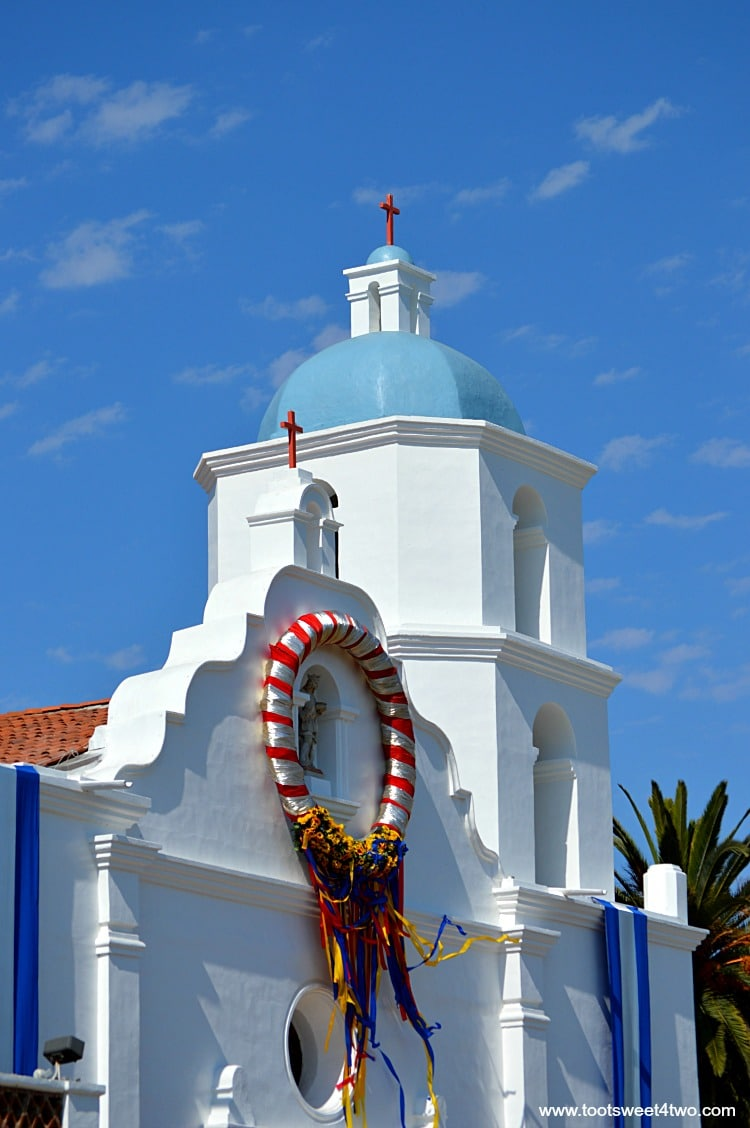 Mission San Luis Rey decorated for festival