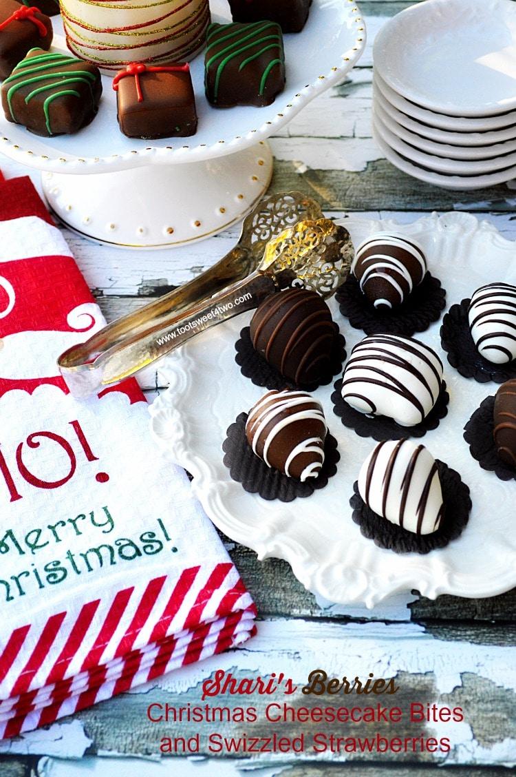 Shari's Berries Christmas Cheesecake Bites and Swizzled Strawberries