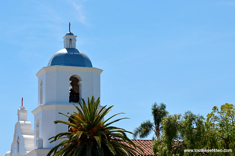 Side view of bell tower at Mission San Luis Rey